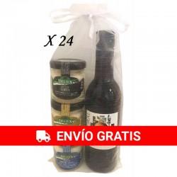 Detalles para invitados Vino y  cremas de queso para regalar (24 pack)