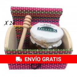 Tarro de miel con nueces y palito catador en baúl de colores (24 ud)