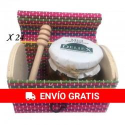 Miel con almendras y palo catador en baúl de colores para regalar (24ud)
