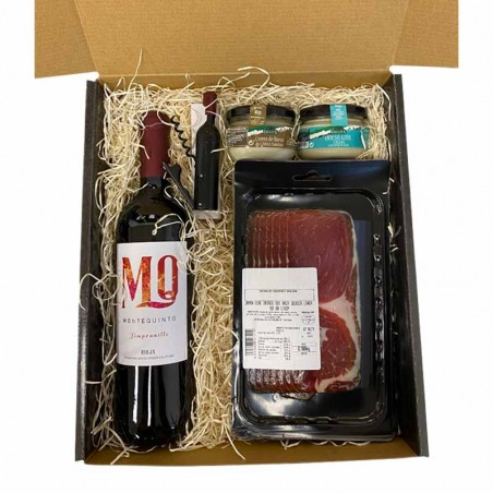 Gift basket with wine, cream cheese, Iberian ham and wine set