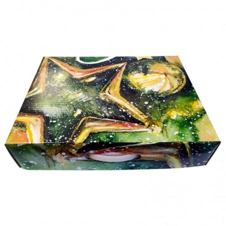 Caja para lotes regalo de cartón con motivos navideños con asa extra grande