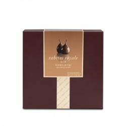 Boîte de chocolats rubis, chocolat blanc avec une touche de Marc de Cava.