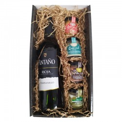 Gourmet Deliex basket with Rioja wine, two pâtés and two cheese creams