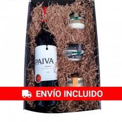 Petit panier de Noël avec du vin Payva et sélection de crèmes au fromage gourmet pour l'entreprise