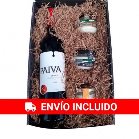 Cesta navidad pequeña con Vino Payva y selección de cremas de queso gourmet para empresa