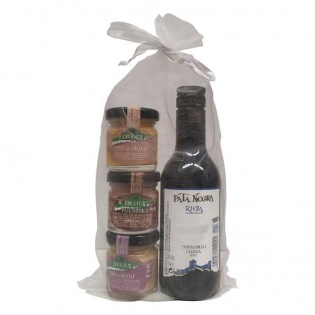 Tres tarritos de paté con vino Pata Negra para regalar