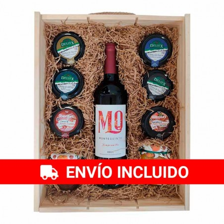 Large wooden Christmas box with Montequinto wine, cream cheese, various pates and jams