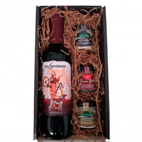 Gift box with Don Luciano wine, Iberian ham and cheese creams