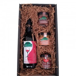 Deliex screenprinted gift basket with Extremadura wine and three pates