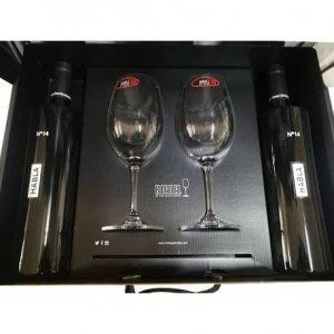 Caja regalo con vinos habla 14 y copas de riedel