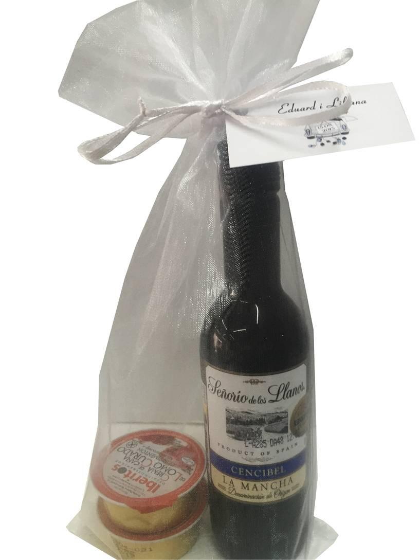 "Vin miniature ""Señorío de los Llanos"" en plastique avec deux pâtés"
