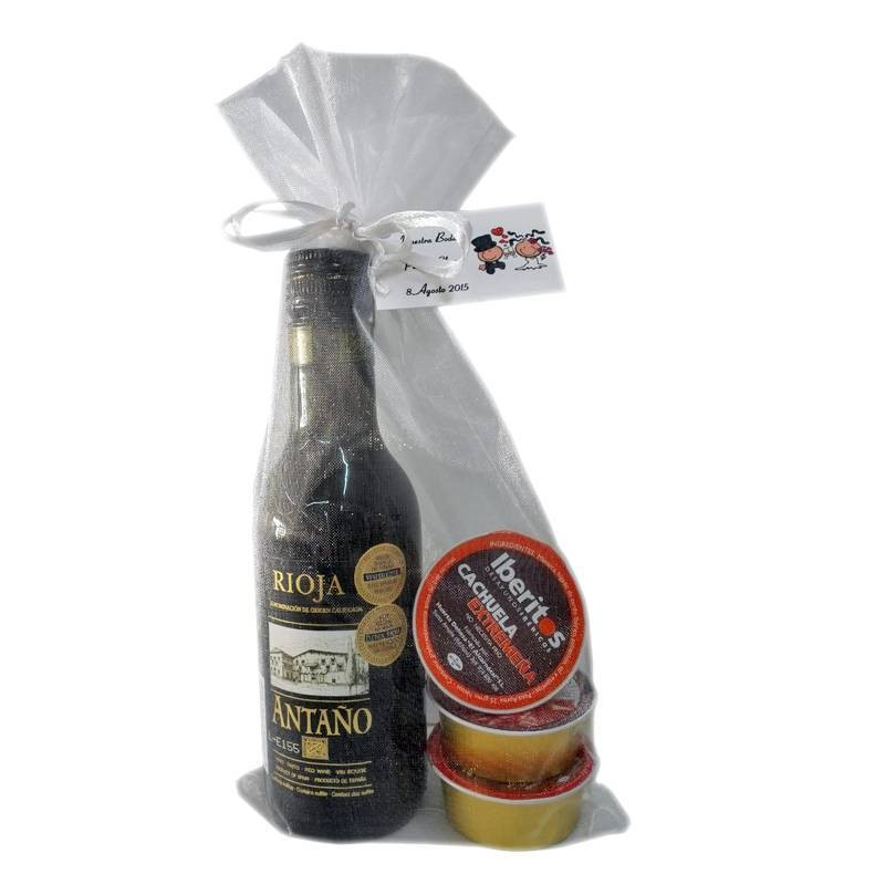 Wedding gift with wine Ataño Rioja and three monodosis of pâté