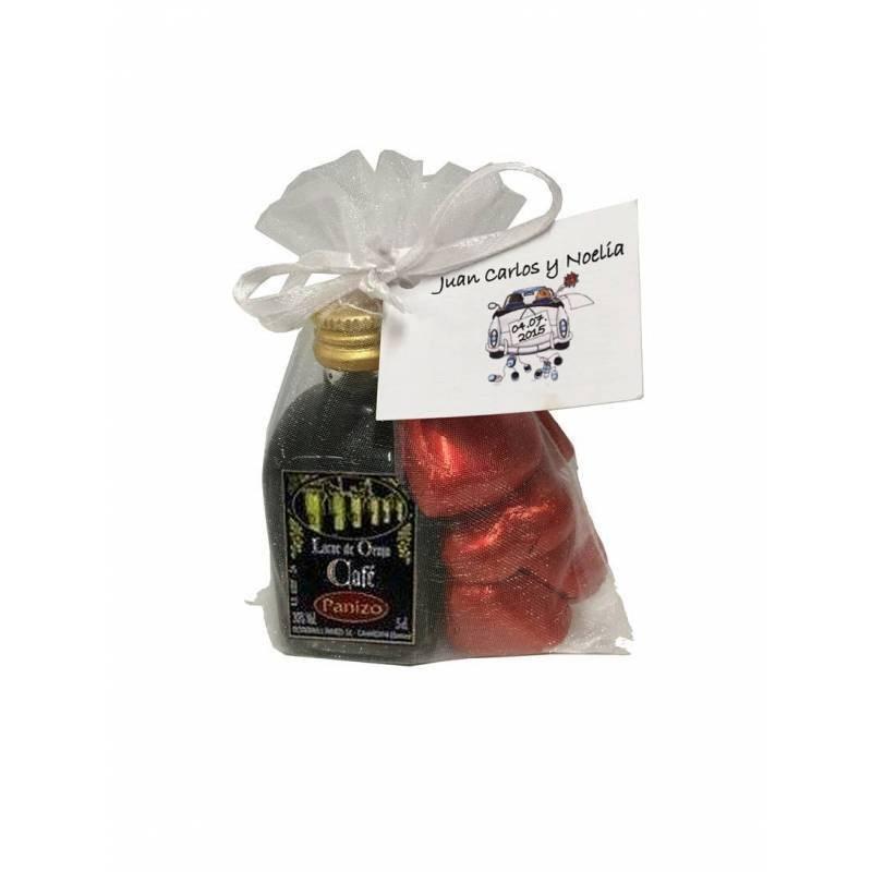 Bag with liquor and chocolates