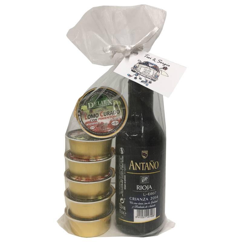 Pack de Rioja Crianza con seis monodosis de paté para eventos