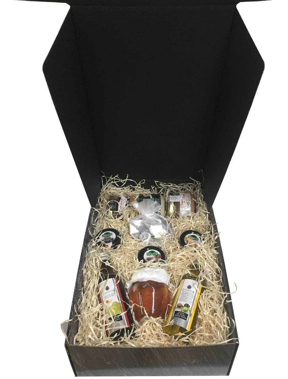 Small case with honey, oil, vinegar, jams, chocolates, cream cheese and pates for company gifts