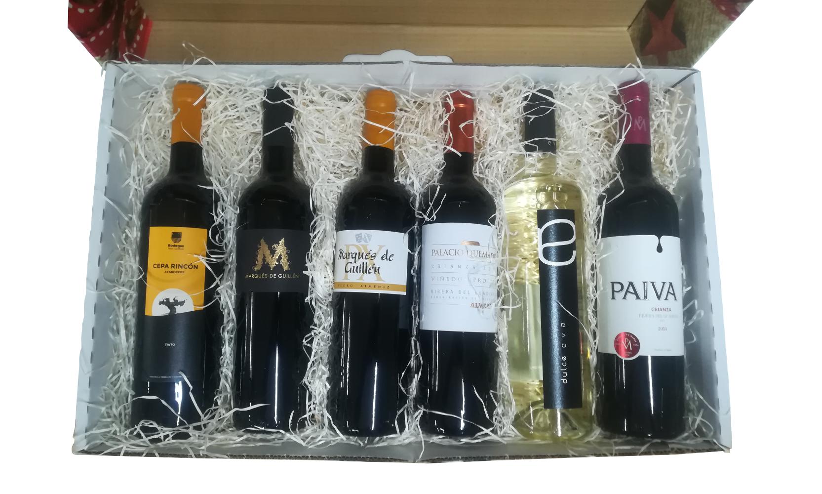 Coffret cadeau avec 6 bouteilles de vin
