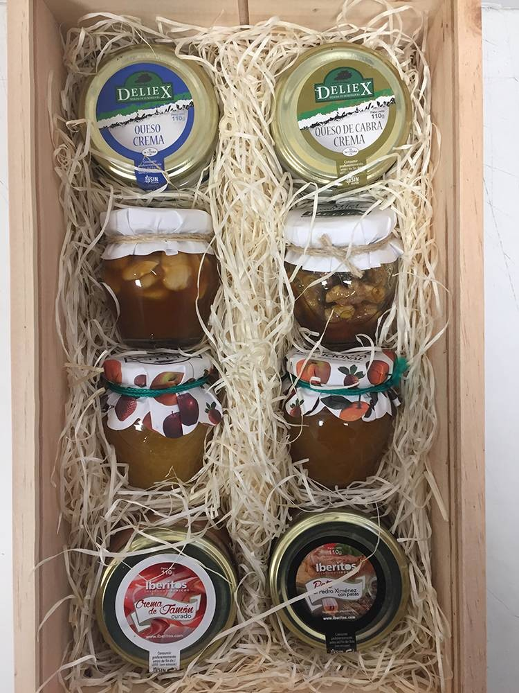 Case for company with honeys, jams, cheeses and pates