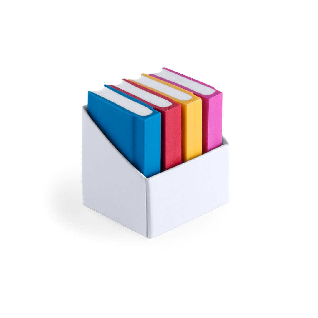 Set 4 Erasers with book-shaped detail for children