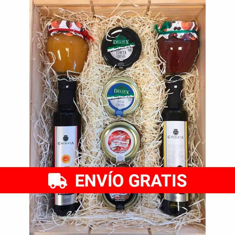 Lot for gift of employees with gastronomy products