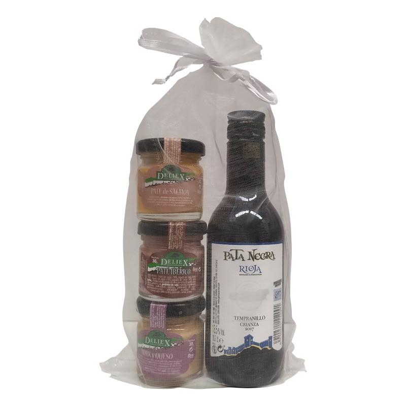 Trois pots de pâté avec du vin Pata Negra à donner